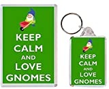 Keep Calm and Love Gnomes - 1 x Jumbo Fridge Magnet & 1 x Double Sided Large Keyring - Gift Souvenir Present