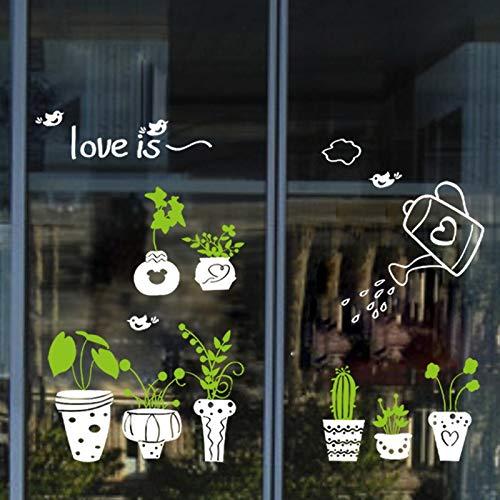 Wandaufkleber Abnehmbare Frische Pflanzen Weiße Topf Grüne Blumen Fensterglas Wand Grenze Aufkleber Bonsai Blumentopf Tapete Poster 40x60cm B (Weiße Abnehmbare Tapete)