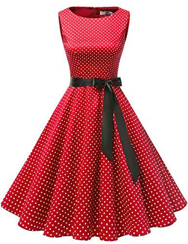 Gardenwed Damen 1950er Vintage Cocktailkleid Rockabilly Retro Schwingen Kleid Faltenrock Red Small White Dot S