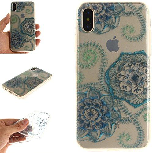 Cover iPhone X , YIGA Moda Fiore di pesca Trasparente Morbido TPU Silicone Flessibile Gel Guscio Cover Protettiva Bumper Case Protezione Copertura Custodia per Apple iPhone X (5,8) TX45