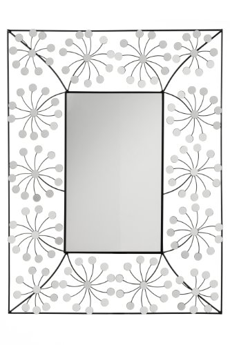 Premier-Housewares-Floret-Espejo-de-pared-diseo-floral-color-plateado