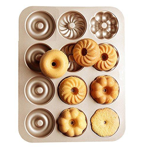 TAMUME Kohlenstoffstahl Krapfen Schimmel Pfanne mit 12-Kavitäten, für die Herstellung von 12 Full-Sized Donuts in 3 verschiedenen Krapfen Formen