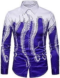 BUSIM Men's Long Sleeve Shirt 3D Octopus Print Casual Fashion Slim Button T-Shirt Trend Shirt Clearance Hot For...
