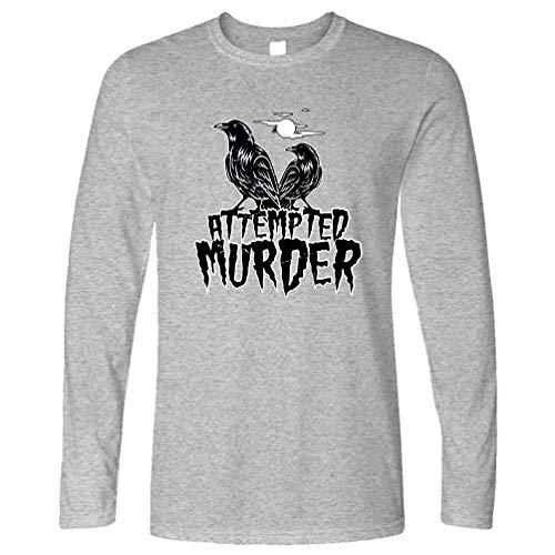 Tim And Ted Halloween Langarmshirt Mordversuch Crow Pun Grey Medium