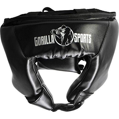 Gorilla Sports Kopfschutz Gesichtsschutz Headgear schwarz S-L für Sparring, Boxen, Kickboxen, Muay Thai, MMA