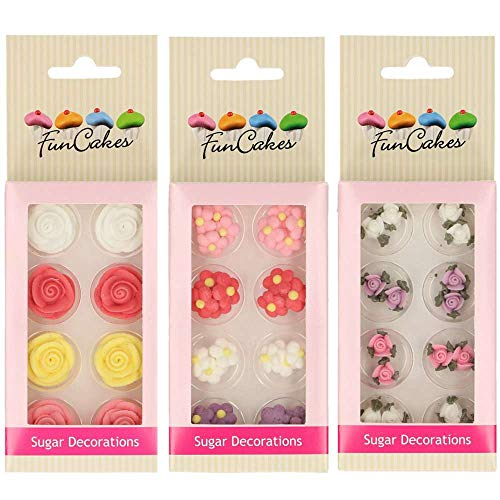Las decoraciones de azúcar / fondant son muy detalladas y perfectas para tus creaciones especiales. Ideal para cupcakes, tartas, muffins, bizcochos, galletas etc etc Pack Rosas- Ingredientes: azúcar (96%), huevoclara en polvo, agua, estabilizante: E3...