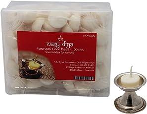 Swaha Vanaspati Ghee Diya (12 cm x 10 cm x 5 cm, Set of 100, White)