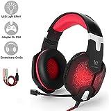 Gaming Headset PS4, marsboy Gaming Kopfhörer mit Mikrofon LED Effekt für PS4 PC Film Gaming Spielen Chat Musik Rot.