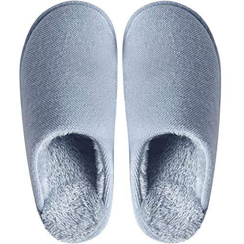 Inverno pantofole donna uomo unisex home morbido antiscivolo caldo confortevole ciabatte da casa peluche a fondo spesso mantiene caldo, azzurro_40 / 41 indoor outdoor home scarpe