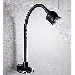 Küche Bad Wasserhahnschwarzes Universalrohr Kann Mopp-Pool In Der Wand Einzelnes Kaltes Hahnhahn-Hahn-Horizontale Wand-Küche-Gemüseschüsseltöpfe Wasserhahn Drehen