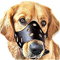 Mefe Dog Muzzle Leather, Safety Safety Puppy Puppy Snout Mask para morder y ladrar (Negro L)