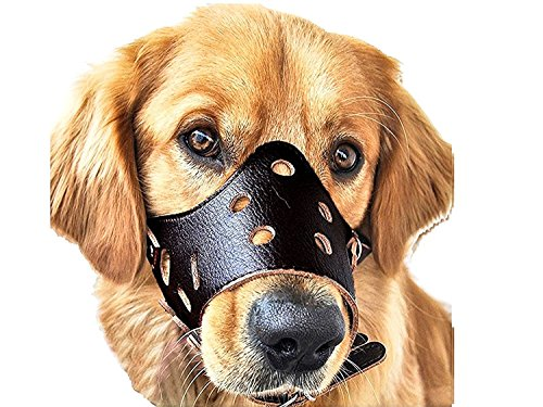 Mefe Dog Muzzle Leather, Safety Safety Puppy Puppy Snout Mask para morder y ladrar (XL negro)
