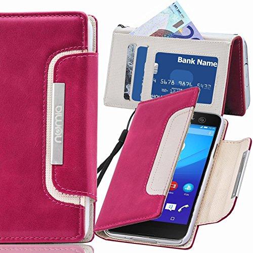 numia Sony Xperia E1 Hülle, Handyhülle Handy Schutzhülle [Book-Style Handytasche mit Standfunktion und Kartenfach] Pu Leder Tasche für Sony Xperia E1 Dual Case Cover [Pink-Weiss]