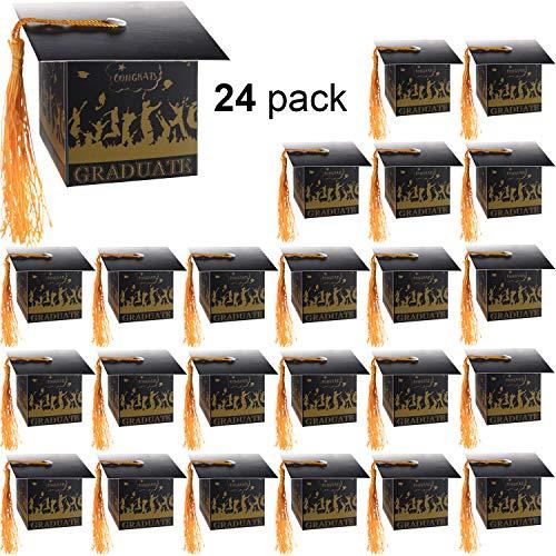 2019 Abschluss Deckel Karte Box Süßigkeiten Geschenkboxen Abschluss Beratung Message Karten Box mit Quaste für Abschluss Partei Vorräte (2,4 x 2,4 x 2,4 Zoll, 24 Stücke)