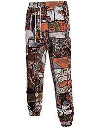 14fe171375 Pantalones Flojos De La Impresión Pantalones Deporte Esencial Lino De Del  Estampado De Flores De Boho Del Verano De Los Hombres…