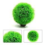 sourcingmap® Plastica verde erba a sfera acquario di ornamento acquatico con sostegno