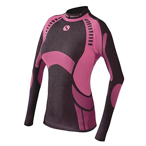Sesto Senso Damen Funktionsunterwäsche langarm Shirt Thermoaktiv (Schwarz/Weinrot, L)