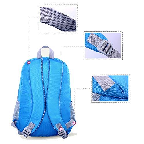 BOZEVON Wasserdichter Rucksack für Kinder Unisex Schultaschen Jungen Mädchen für Reisen, Wandern, Sport Blau #871