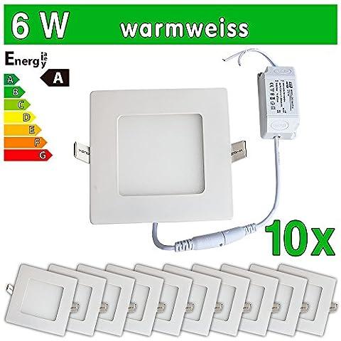 LEDVero 2x Ultraslim LED Panel SMD 2835, 6W, quadrato PLAFONIERA lampada da incasso luce faretto, Bianco caldo, 10 pezzi