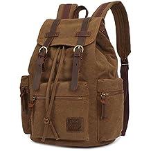 Kaukko Escuela Mochila Hombres Mujeres Vintage Canvas Backpack Senderismo Bolsa Casual Bolsa de viaje para Sony / Canon / Nikon / Olympus / iPad y Tablet Samsung / Laptop de 14''