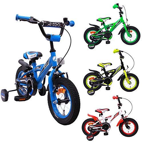 AMIGO BMX Turbo - Kinderfahrrad - 12 Zoll - Jungen - mit Rücktritt und Stützräder - ab 3 Jahre - Blau