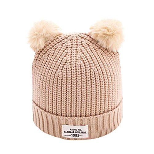 LuckyGirls Babymütze Brief warme Winter hüte gestrickte Wolle säumen Hut (Beige)