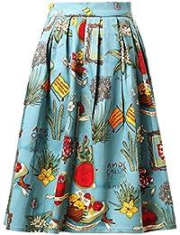Falda Plisada Estampado Floral Falda de Playa Cintura Alta Vestidos Mujeres ES6294