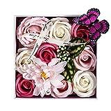 PH Home Künstliche Blumen Seife Rosen Geschenk-Box mit Schmetterling und Kristall für Valentinstag, Muttertag, Hochzeit, Geburtstag, Jahrestag Rose