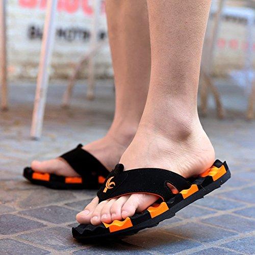 Xing Lin Sandales Pour Hommes Piscine DÉté Et Sandales Pour Hommes Chaussons Tongs Sandales Marée Massage Friction Orange