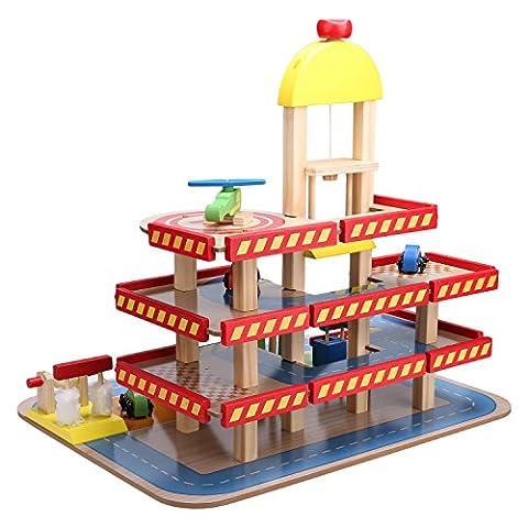 Gernice Parkgarage Kinder parkhaus aus Holz Spielzeug mit 3 Ebenen Spielgarage mit Tankstelle und (Holzspielzeug Parkhaus)
