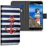 kwmobile Hülle für Samsung Galaxy J3 (2017) DUOS - Wallet Case Handy Schutzhülle Kunstleder - Handycover Klapphülle mit Kartenfach und Ständer Anker Streifen Vintage Design Rot Dunkelblau Weiß