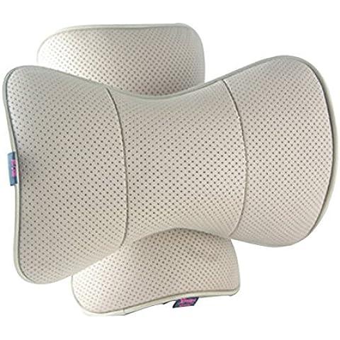 2 Pezzi Luce Marrone Cuoio Cane Osso Forma Auto Collo Pillow/Cushion con Cosmo Fissaggio Cinghia