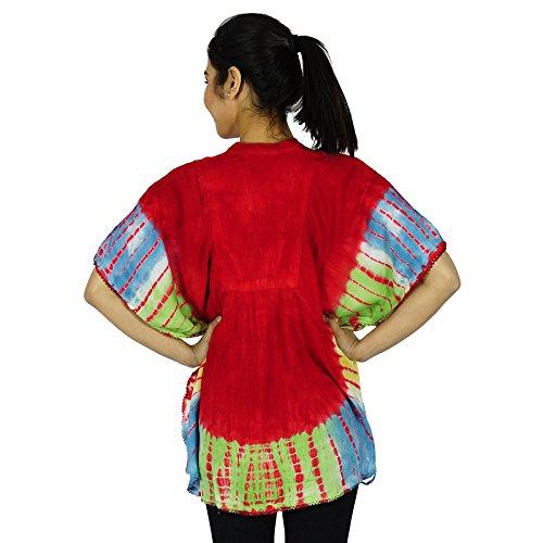 ƒtŽ femme indienne Boho Poncho Rayon Casual Tunique Sundress Rouge et Aqua Bleu