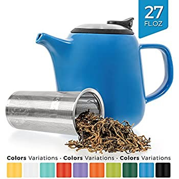 Tealyra - Daze Ceramic Teapot in Blue - 700ml (2-3 cups) - Small Stylish High-Fired Ceramic Teapot with Stainless Steel Lid and Extra-Fine Infuser To Brew Loose Leaf Tea - Dishwasher-safe - BPA Free