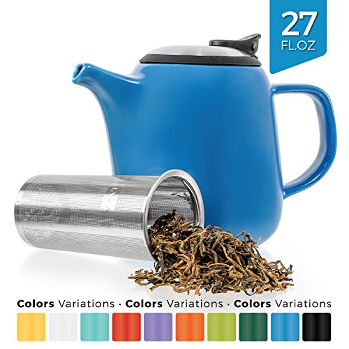 Tealyra - Daze - Keramik Teekanne Blau - Ceramic Teapot in Blue - 700ml (2-3 cups) - Small Stylish High-Fired Ceramic Teapot with Stainless Steel Lid and Extra-Fine Infuser To Brew Loose Leaf Tea - Dishwasher-safe - BPA Free