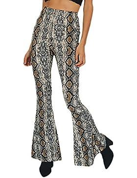 Mujer Pantalon De Cintura Alta Impresión De Piel De Serpiente Modernas Casual Hippie Moda Especial Pantalones...