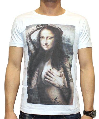 40by1, Herren T-Shirt, Sexy Mona Lisa, Fashion Tee, white, 40/1-14-022, GR XL