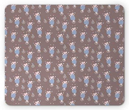 Circus Mouse Pad, Kids Nursery Design with Cute Hippo Carnival Artists Funny Cartoon, Standard Size Rectangle Non-Slip Rubber Mousepad, Warm Taupe Blue and White 9.8 X 11.8 inch