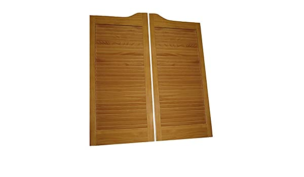24, 32 and 36 sizes also available Cafe Doors Louvered pre-fit for 30 finished opening ready to install Pre-Stained :: ProLamen Anti-Warp :: Saloon Western Swinging Style Wood Bar Door
