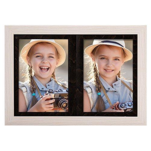 SweeHome Bilderrahmen für Mädchen und Jungen, Geschenk für Paare, 2 Bilder à 10 x 15 cm, 2 Farben wählbar, passend für Ständer auf Schreibtisch Collage Frame with Two 4 * 6 Rustic White+Black (White X-frame Schreibtisch)