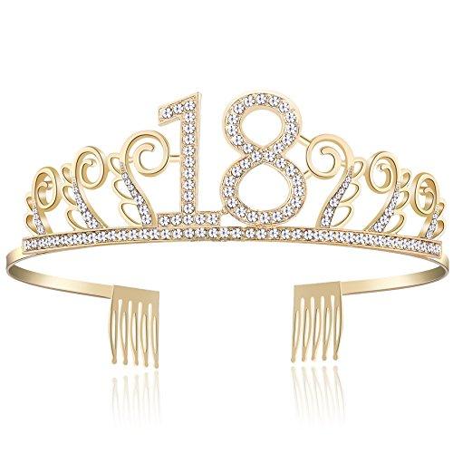 BABEYOND Kristall Geburtstag Tiara Birthday Crown Prinzessin Geburtstag Krone Haar-Zusätze Rosa oder Silber Diamante Glücklicher 18/20/21/30/40/50/60/90 Geburtstag (18 Jahre alt Gold)