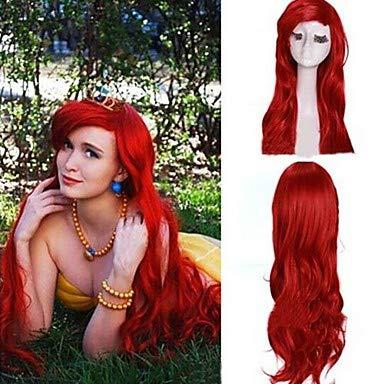 FUHOAHDD dunkle rote gelockte kleine Meerjungfrau Prinzessin Ariel synthetische Perücke Frauen extra Lange, Dark red (Kleine Meerjungfrau Perücken)