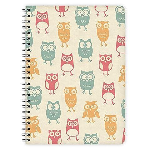 etmamu 438 Notepad Owls Pattern A5, 60 Sheet In Blank