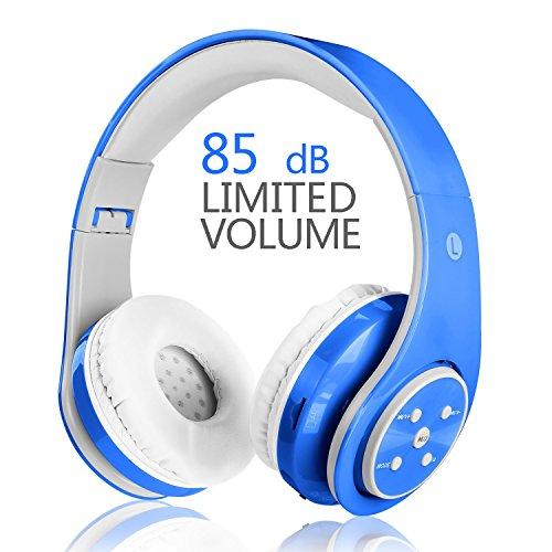 【Aktualisierte Version】 Votones Drahtlose Kopfhörer für Kinder Erwachsene Lautstärke Begrenzte Kopfhörer Zu Ende Ohr wiederaufladbare faltbare Bluetooth Headset mit Mikrofon 3.5mm Jack für Hände frei nennen,Kompatibel mit Smartphones PC Tablette Blau