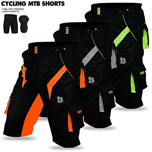 MTB Radfahren kurz Coolmax Gepolsterte Fahrrad Off Road Cycle Liner Short Bike Tights New, Herren, Orange (Liner Cycle Shorts)