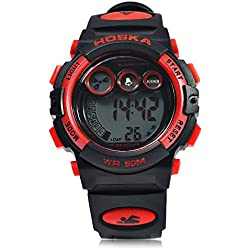 Leopard Shop HOSKA H002S Kid Sports Digital Watch with Day Chronograph LED Light Wristwatch Water Resistance Red Black