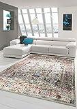 Merinos Orientteppich modern Wohnzimmerteppich Vintage Designteppich mit Fransen Beige Größe 130x190 cm