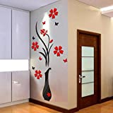 Wall Stickers Amlaiworld DIY Vase Flower Tree Crystal Arcylic 3D Wall Stickers Decal Home Decor 80*40cm