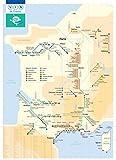 La Feuille de Vigne Affiche/Poster Plan de métro Carte des vins de France fine art 50 x 70 cm