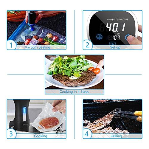 HOMPO Sous Vide Stick 800 Watt Niedrigtemperatur-Garer mit LED Display Umwälzpumpe und Abschaltautomatik - 5